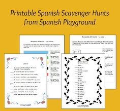 Printable Spanish game – Treasure hunts and scavenger hunts Scavenger hunts in Spanish are a fun way to practice vocabulary and reading. Five printable scavenger hunts with basic vocabulary for kids learning Spanish. Learning Spanish For Kids, Spanish Games, Spanish Phrases, Spanish Activities, Spanish Lessons, How To Speak Spanish, Teaching Spanish, Kids Learning, Class Activities