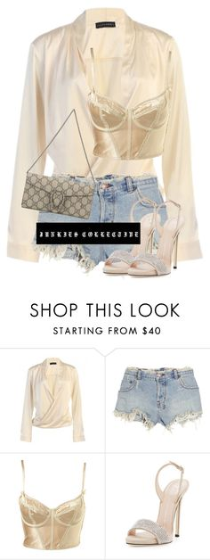 """""""Bralet under Blouse"""" by junkiescollective ❤ liked on Polyvore featuring Ksubi, Giuseppe Zanotti and Gucci"""