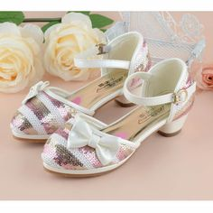 Fuchsia White Sequin High Heel Flower Pageant Girl Girls Party Shoes SKU-133574