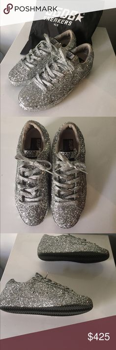 Golden Goose Silver Glitter Starter Sneaker Hard to find all silver glitter GGDB Starter. Never been worn, with dust bag! Got them as a gift from a client, but are too small for me. Golden Goose Shoes Sneakers