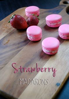 These delicate strawberry treats are bright in color, and irresistible! the fresh strawberry buttercream tastes just like a strawberry milkshake! Strawberry Macarons Recipe, Vanilla Macarons, Macaron Flavors, Macaroon Recipes, Strawberry Filling, Strawberry Recipes, Strawberry Milkshake, Strawberry Buttercream, Homemade Macarons