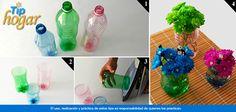 Floreros con botellas de refresco.  Reciclar y decorar tu casa es muy sencillo. Para crear unos pequeños y originales floreros sólo necesitas botellas de plástico de 600 ml las cuales debes cortar por la mitad. En Walmart SIEMPRE encuentras TODO y pagas menos.