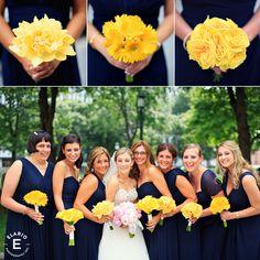 monochromatic bouquets, monobotanical bouquets, yellow bridal bouquets, navy blue bridesmaid dresses #popofyellow #fleurtaciousdesigns - Elario Photography