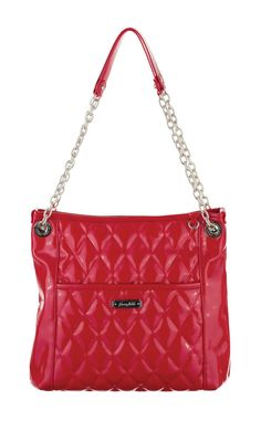 Grace Adele Handbag ~ Alex Scarlet $80 ~ Patent quilted bag with convertible chain straps. www.EyeCandy.GraceAdele.us