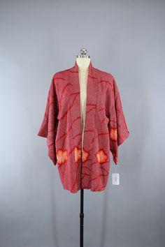 1950s Vintage Silk Haori Kimono Jacket in Dark Red Orange Floral Shibori  #vintage #shopvintage