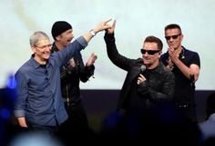 Apple CEO Tim Cook, left, greets Bono after performance at the launch of the iPhone 6 in California last month. Adam Clayton, U2 Songs, Album Songs, Iphone Event, Iphone 6, Apple Iphone, Ipod, Tim Cook, Songs Of Innocence