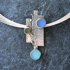 Sea Glass Jewelry Necklace in Aqua Blue and by MonicaBranstrom