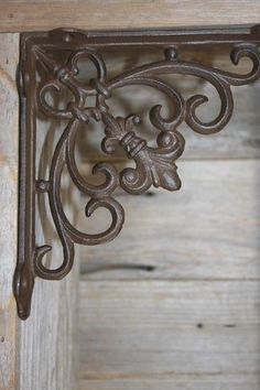 Fleur De Lis Shelf Brackets 7 inch Cast Iron, by WePeddleMetal on Etsy Shelf Brackets Vintage, Decorative Shelf Brackets, Cast Iron Shelf Brackets, Door Brackets, Wrought Iron Decor, Tuscan Design, Tuscan Style, Marquise, Metal Wall Decor