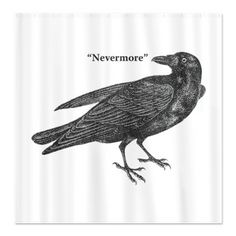 """Nevermore Raven Fabric Curtain Panel.  How about this behind the buffet table at a B&W Edgar Allan Poe / Alfred Hitchcock inspired """"Beware the Birds!"""" Halloween Party?"""