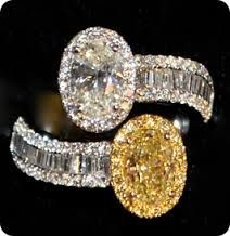 Platinum ring set with 6 ct natural yellow flawless diamond, and matching 6.4 ct white flawless diamond.