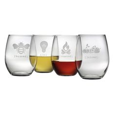Buzzed, Lit, Toasted & Juiced.  How cute and clever are each of these glasses?  Sure to bring a smile, these will make a great gift for any occasion.