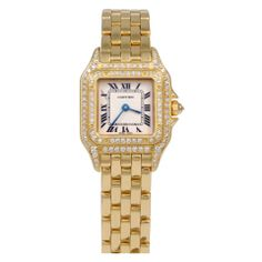 CARTIER Lady's Yellow Gold and Diamond Panthere Wristwatch at 1stdibs