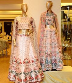 "1,458 Likes, 4 Comments - Aza (@azafashions) on Instagram: ""Eternal elegance redefined with a modern touch in rose pink printed lehengas by @varunbahlcouture…"""