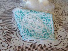 "Monogram ""F"" Handkerchief Bride's Wedding White with Sea Green Hanky Family Heirloom Vintage Linen on Etsy, $17.43 AUD"
