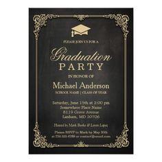 187 best law school graduation invitations images on pinterest elegant black gold vintage frame graduation party invitation filmwisefo