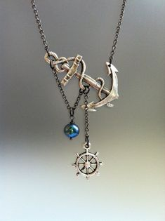 Lost at Sea Necklace by SBC Black Peacock FW Pearl Silver Plated Anchor Ship Wheel