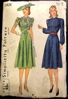 """Simplicity No. 3428 Misses Dress vintage sewing pattern c 1940 """"Waistline yoke joined to four piece skirt at waistline. The front is tucked and gathered. Style I blouse tucks are trimmed with purchased frilling. Short sleeves finished with cuffs. style II long sleeves are gathered into cuff at wrist. Purchased belt may be worn."""""""