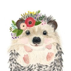 Browse unique items from zuhalkanar on Etsy, a global marketplace of handmade, vintage and creative goods. Animal Paintings, Animal Drawings, Cute Drawings, Watercolor Animals, Watercolor Paintings, Watercolour, Hedgehog Art, Hedgehog Drawing, Illustration Art