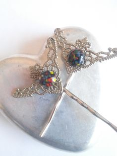 Filigree And Japanese Millefiori Art Deco Style Hair Pins by bluehoneyjewelry on Etsy