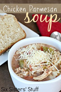 Slow Cooker Chicken Parmesan Soup on SixSistersStuff.com - so delicious and easy!