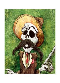 DIA de los MUERTOS BANDITO - 12x18 Officially Signed, Dated and Hand-Stamped Art Print. $20.00, via Etsy.