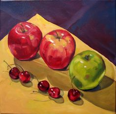 """Apples and Cherries, 12"""" square, oil on canvas"""