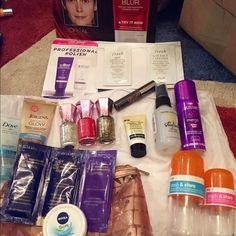 Beauty, Hair & Skin Care, Travel Bundle Beauty, Hair & Skin Care, Travel Bundle. Includes small and large pill shaped travel storage containers, Jergens Natural Glow self tanner, 3 Candie's nail polishes, benefit mascara, 3D Crest whitening sample, Aussie hair spray, Bb styling spray, Ken Paves hair care samples, Nivea moisturizing cream, & Neutrogena facial cleanser in a cosmetic case. Sephora Makeup