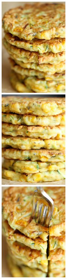 "Zucchini Corn Pancakes - Super easy pancakes perfect as a side dish or appetizer. And best of all, they don't even taste ""healthy""! Thanks to Damn Delicious Vegetable Recipes, Vegetarian Recipes, Cooking Recipes, Healthy Recipes, Think Food, Love Food, Corn Pancakes, Zucchini Pancakes, Waffles"