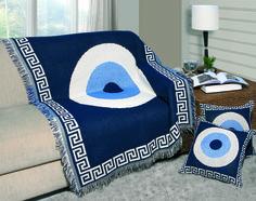 Manta decorativa para sofá Olho Grego - OMARTEX www.larconnect.com.br