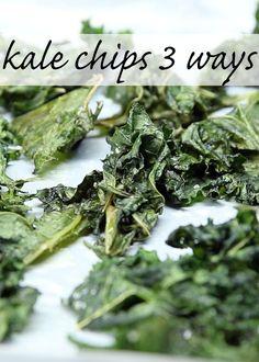 Kale Chips 3 Ways [vegan, vegetarian, healthy, recipe] Vegan Foods, Vegan Snacks, Healthy Snacks, Protein Snacks, Healthy Breakfasts, High Protein, Eating Healthy, Healthy Cooking, Clean Eating