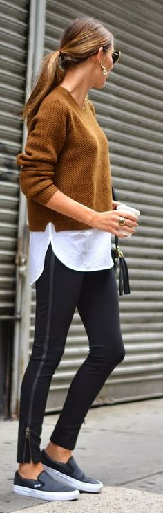 Camel White And Black Outfit Idea