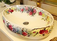 Oval Bathroom Lavabo Ceramic Counter Top Wash Basin Cloakroom Hand Painted Vessel Sink bowl 5015 - Tubs and Sinks - Bild Bathroom Sink Bowls, Bathroom Towels, Vessel Sink, Sink Faucets, White Bathroom, Bathroom Fixtures, Sinks, Small Bathroom, Ideas Baños