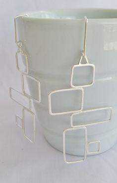 Geometric sterling silver dangle earrings by modernsilver on Etsy