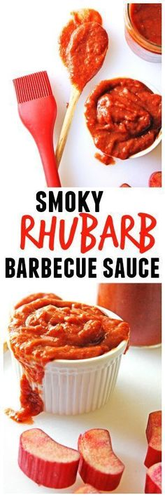 Easy vegan barbecue sauce recipe made with fresh rhubarb! Smoky rhubarb barbecue sauce is tangy, yet sweet, with just a touch of smokiness. AMAZING! // Rhubarbarians