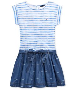 Tommy Hilfiger Girls' Stripes & Printed Denim Dress
