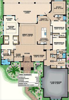 Spacious Florida House Plan with Piano Nook - Florida House Plans, New House Plans, Dream House Plans, Florida Home, House Floor Plans, Master Suite Bedroom, Bedroom Corner, Pergola Plans, Pergola Ideas