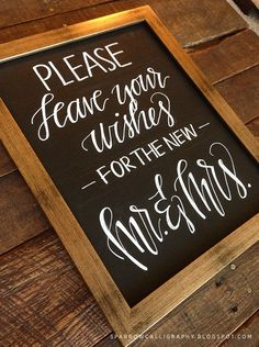 mr. and mrs. wedding chalk board | sparrow hand lettering Visit my Etsy shop…