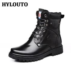 81.60$  Watch now - http://alirx7.worldwells.pw/go.php?t=32709653061 - Winter Plush Warm Punk Men Casual Fashion Boots Classic Martins boot High Quality Genuine Leather Male Walking Shoes 10832 81.60$