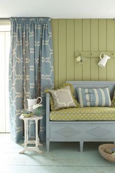 Vanessa Arbuthnott fabric, swedish style. I like the fabric for the curtains.