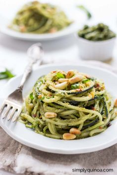 Quinoa Pesto Zucchini Noodles - the perfect way to use up all your zucchini this summer!