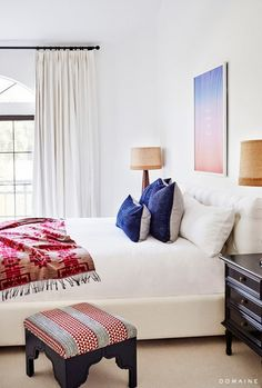 """""""We love Farrow & Ball Skimming Stone as well as Cornforth White for a bedroom. The colors are slightly warm and are subtle but saturated, so they look great with everything."""" —..."""