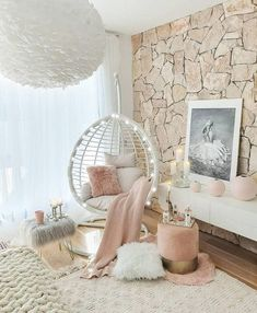 Glam decor with egg chairs and other fabulous accessories.  #glamdecor #homedecor #eggchairdecor #hangingchair #swingingchair #homedecorideas Cute Bedroom Decor, Bedroom Decor For Teen Girls, Girl Bedroom Designs, Stylish Bedroom, Room Ideas Bedroom, Small Girls Bedrooms, Teen Girl Rooms, Cosy Bedroom Ideas For Couples, Cute Bedroom Ideas For Teens