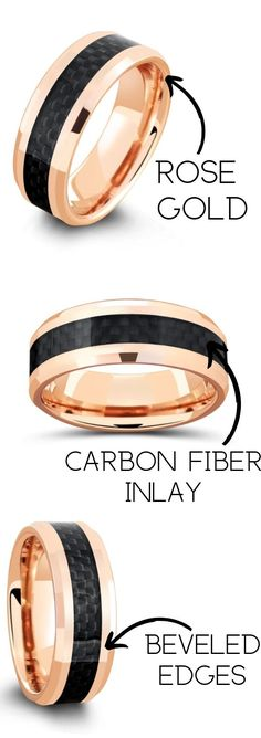 This unique mens wedding ring is crafted from a tungsten carbide core and finished with a rose gold finish. Inlaid through the center of the ring is a woven black carbon fiber inlay. He really wants a rose gold wedding band and this would be perfect. I also love the black on this mens wedding band. #mensweddingrings #mensweddingbands #mensrings