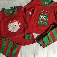 Applique Christmas Pajamas - Personalized Christmas Pajamas -LIMITED QUANTITIES by RydersCreations on Etsy https://www.etsy.com/listing/208837918/applique-christmas-pajamas-personalized