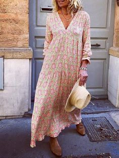 fancycozy Sundress Long Sleeve 1 Floral Dresses Holiday V Neck Gathered Holiday Dresses Summer Holiday Dresses, Long Summer Dresses, Maxi Dress With Sleeves, Short Sleeve Dresses, Long Sleeve, Sleeved Dress, Belted Dress, Types Of Sleeves, Half Sleeves