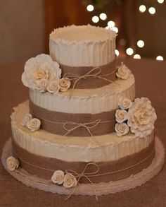 Wedding cake - rustic but elegant.  Cakes by Maryann by Brenda Douglas