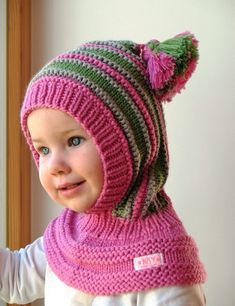 Merino Balaclava, Pink Baby/ Toddler/ Children Hoodie hat with Pom Poms.Waldorf inspired winter and snow hat. Hand knitted hoodie / balaclava hat for baby, toddler, child. Made from merino wool in pink, green and grey. Knitting For Kids, Baby Knitting, Crochet Baby, Knit Crochet, Snow Hat, Scarf Hat, Baby Sweaters, Baby Hats, Knitted Hats