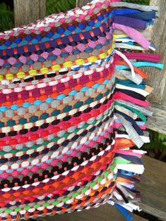homework: Sew and Tell: rag rug pillow: use for deck pillows - love the colors