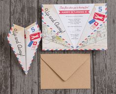 Paper Airplane Birthday Party Invitation by HipHipHoorayStudio