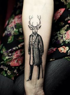 Deer man by Ien Levin #forearm #tattoos